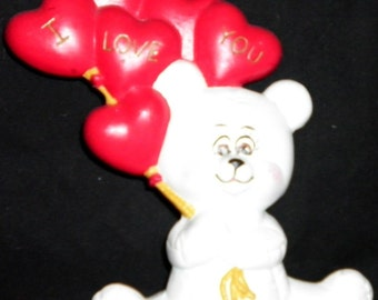 Bear holding I Love You Balloons Vintage Ceramic Figurine, 1980s