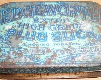 Edgeworth Extra High Grade Plug Slice Vintage Tobacco Tin, 1940s (empty)