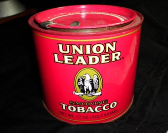 Union Leader Vintage Tobacco Tin 12 oz (empty), 1950s