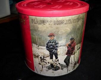 Happy Holidays Prince Albert Crimp Cut Vintage Tobacco Tin, 1950s