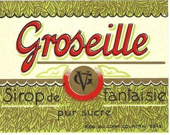 Groseille Sirope de Fantaisie Vintage Syrup Label, 1940s