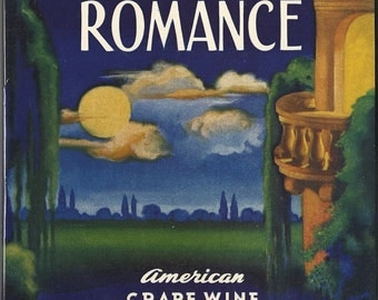 Bottled Romance American Grape Wine Vintage Label, 1934