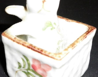 Miniature Cat in a Basket Vintage Handcrafted Thailand Figurine, 1970s