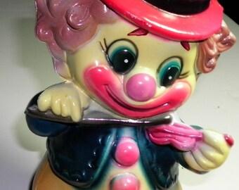 Clown Musician Vintage Plastic Bank, 1960s