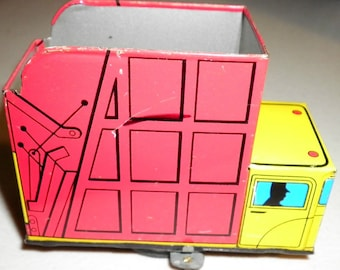 Garbage Refuse Truck Vintage Wind Up Tin Toy , 1970s