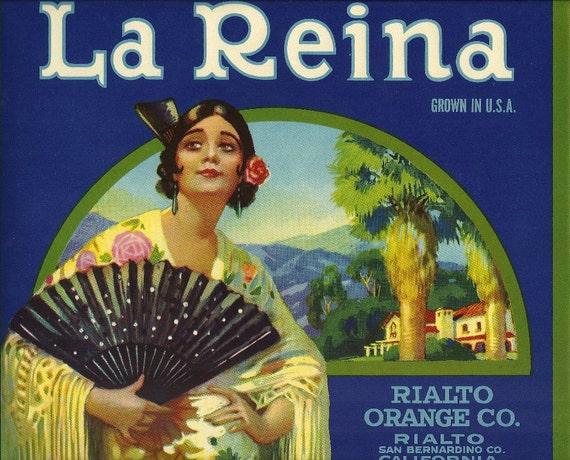 La Reina Vintage Crate Label, 1930's