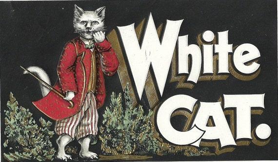 White Cat Embossed Inner Cigar Label 1890's By