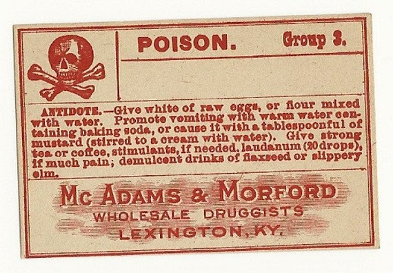 Poison Vintage Pharmacy Label, 1920's