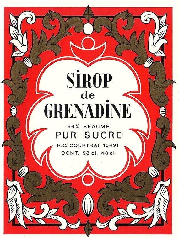 Sirop de Grenadine Vintage Label, 1940s