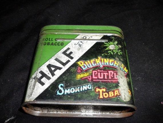 Half and Buckingham Cut Plug Vintage Tobacco Tin, 1930s