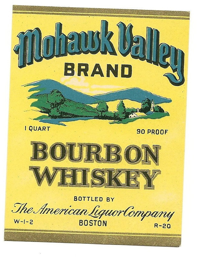 Mohawk Valley Bourbon Whiskey Label 1930s By