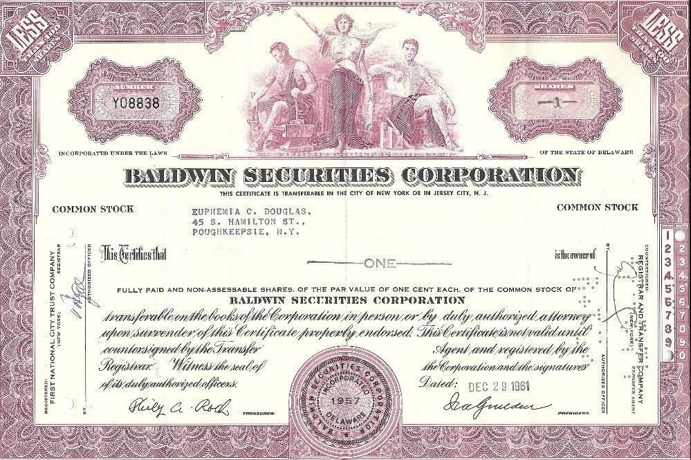 baldwin securities corp vintage original stock certificate. Black Bedroom Furniture Sets. Home Design Ideas