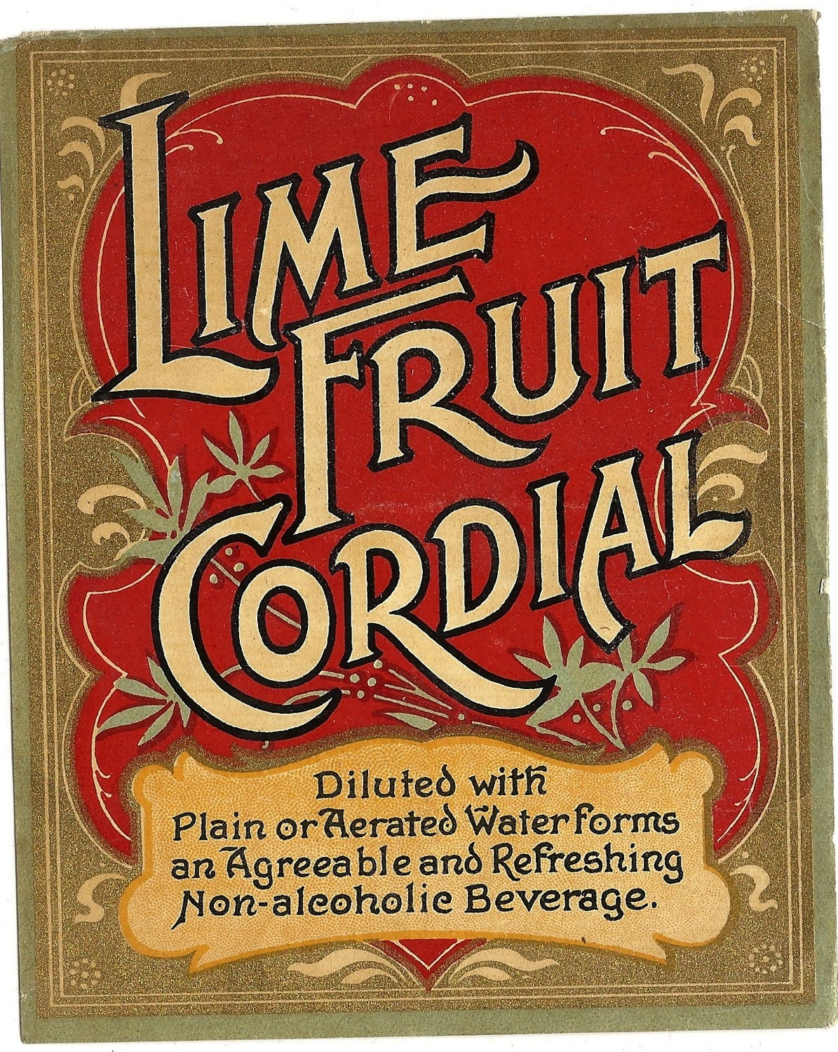 Lime Fruit Cordial Label circa 1800s by thecollectiblechest