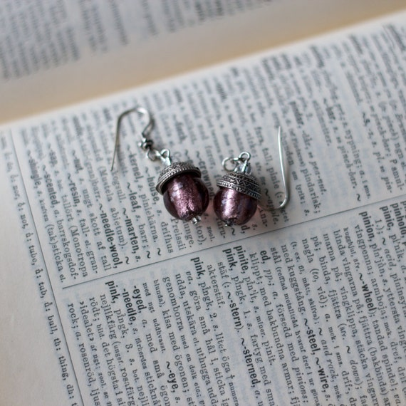 Acorn Earrings with Soft Pink Murano Glass Bead
