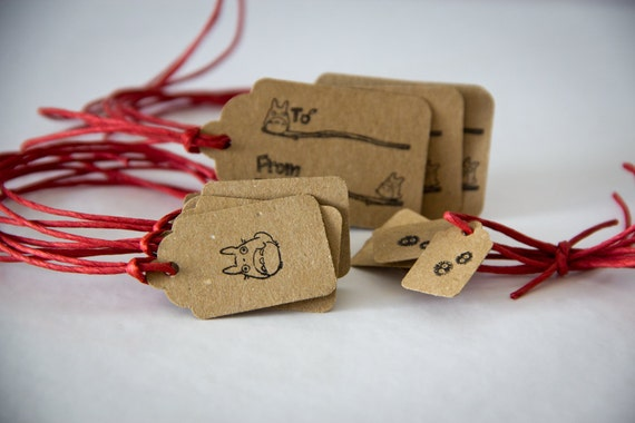 Hand Stamped Totoro Gift Tags in Brown Kraft Cardstock (set of 12 pieces)