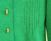 Vintage Leslie Fay Bright Green Knit Blazer with Diamond Stitching Sz sm/med