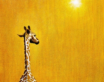 GIRAFFE Looking Back: Africa 11 x 14 Signed Art Print