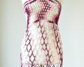 SALE AinurDesign  Skirt   Beach Dress Tunic-Pink -Burgundy -Neon Pink -  Flower Power Hippie-Ivory Read to wear-