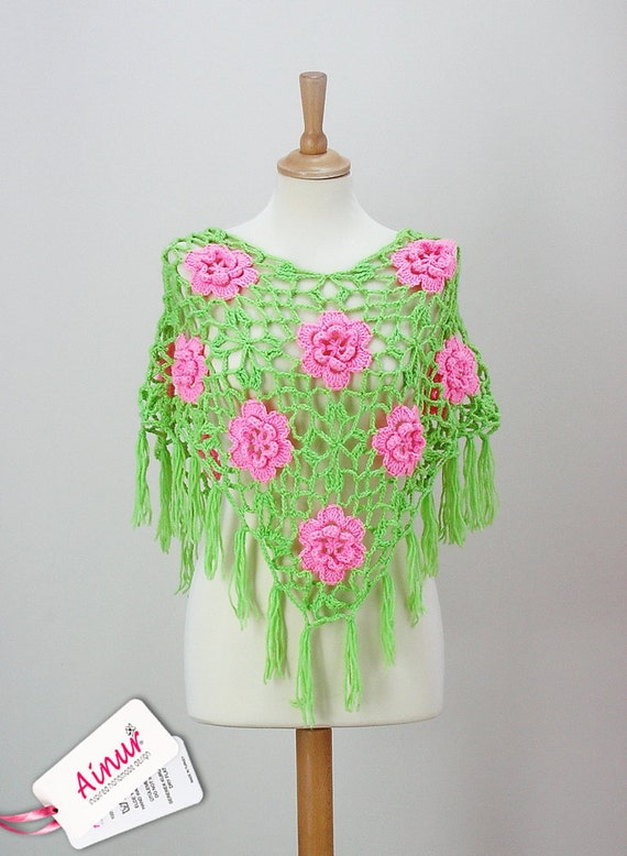 RESERVED Pink Green Roses Flowers  Wrap Shawl poncho