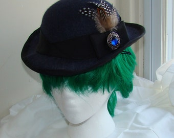 Navy blue ladies dress bowler hat