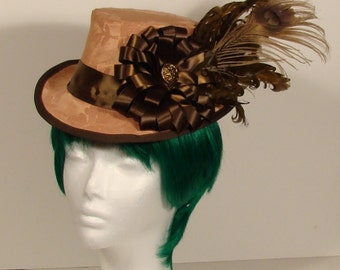 Peach and Brown Victorian Style ladies Top Hat