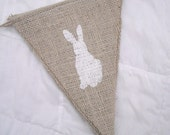 BABY or EASTER Burlap Banner with Bunnies, Bunny Banner, Rabbit Garland, Pennant, Nursery Decor