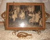 Vintage Victorian Print Glass Wood Vanity Tray Shabby