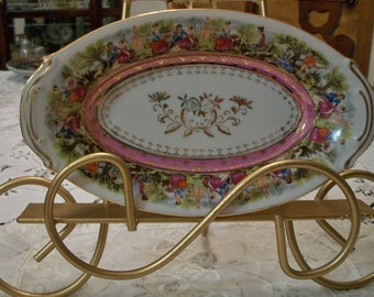 Vintage Shabby Chic Porcelain Courting Couple Tray
