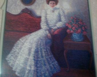 Lovely Vintage Victorian Lady Print Signed G Berkin