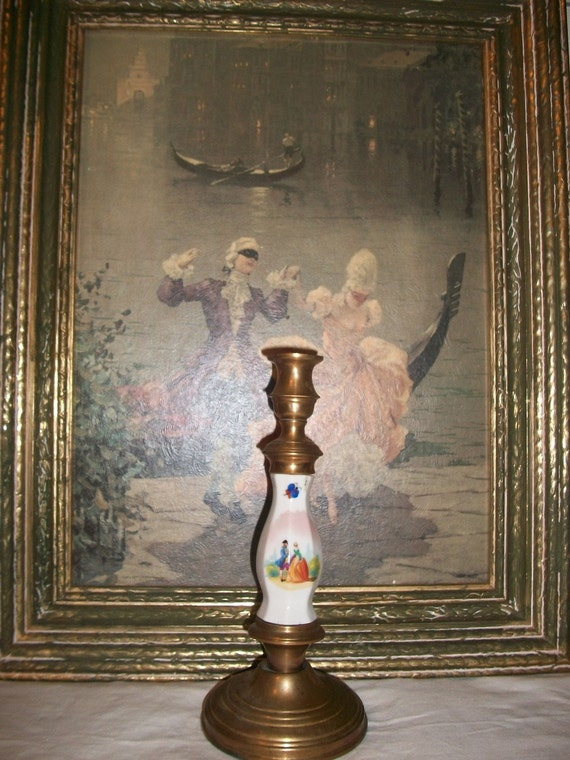Romantic Vintage Porcelain Brass Candle Holder & Picture