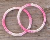 Pink Crochet Bangles Bracelets--set of 2