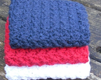 Crochet Washcloths--Red, White, and Blue