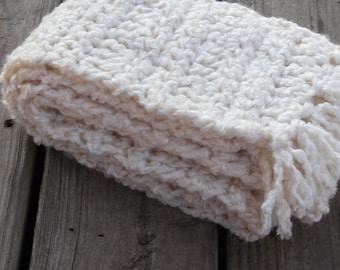 Chunky Cream Ivory Ladies  Long Crochet Scarf