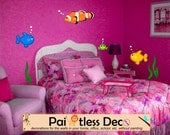 Under Sea World Fish Wall Decal (Assorted Color Blue, Clown, Gold, Green Fish) - KS