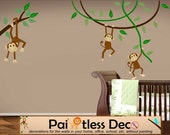 Swinging Monkeys Jungle Wall Decals - Jungle Safari Baby Room Nursery Wall Decal Stickers - Zoo Animal Decals Repositionable Reusable -HWC