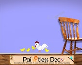 Chicken Wall Decal with Baby Chicks Wall Decal Sticker Reusable / (Nursery Wall Sticker)  -HD