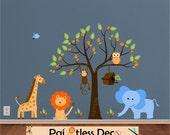 Tree Jungle Wall Decal - Safari Animal Decals Giraffe Lion Monkey Elephant - Zoo Animal Nursery Wall Decals - Reuseable Wall Sticker -HWT S4