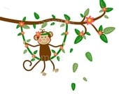 Jungle Monkey Swinging on Branch Vine Wall Decal Sticker Baby GIrl Nursery -HD