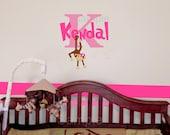 Swinging Girl Monkey Monogram Name Wall Decal Set  (U Choose Color) - HD