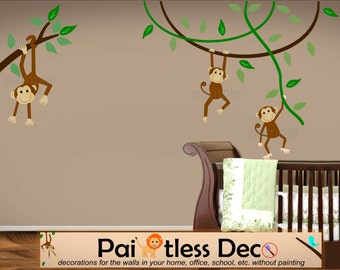 Swinging Monkeys Wall Decal - Vine Wall Decal - Jungle Wall Decal - Safari Wall Decal - Nursery Wall Decal - Reusable Repositionable --KS