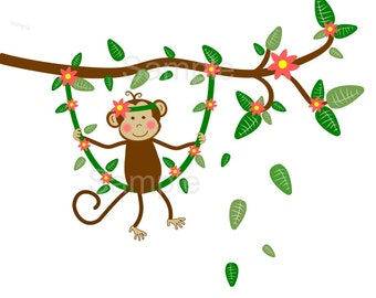 Swinging Monkey on Vine Wall Decal, Sticker Baby girl,brown monkey decal,brown tree branch,wall decal green,monkey tree decal, vine wall art