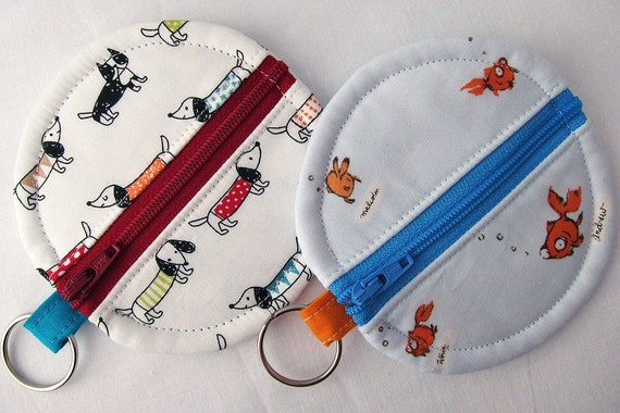 Rosary or Earbud Circle Zipper Pouch - Goldfish
