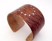 Lacewood Bracelet, Stainlesss Steel Rivet Circle