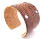 Rosewood Bracelet, Stainless Steel Rivet Edge