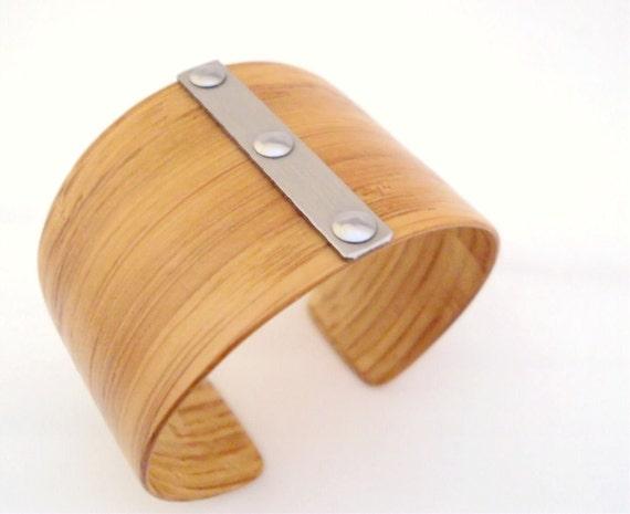 Bamboo Bracelet, Stainless Steel Shortband