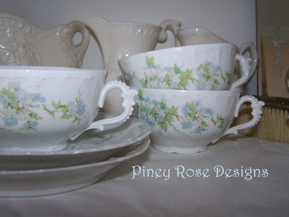 Bone China Teacups and Saucers with Forget Me Nots
