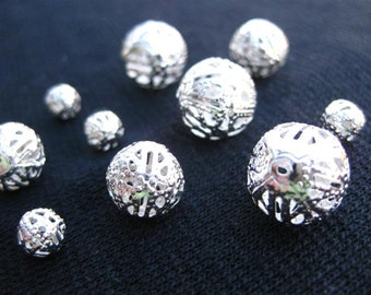 Filigree Beads MIXED SMALL  3 to 6 mm for jewelry, kiln or torch firing