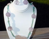 Handmade Sterling Silver Jewelry Set Amethyst  Apatite pink Quartz and Druzy Gems Necklace Earrings