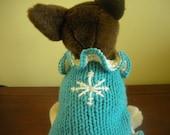 ON SALE - Ruffled Snowflake Dog Sweater - Aqua - XX Small