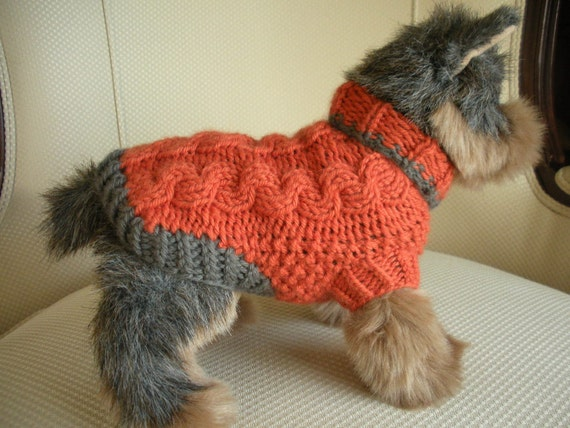 Merino Cashmere Cable Knit Dog Sweater - Tiger Lily - XXSmall